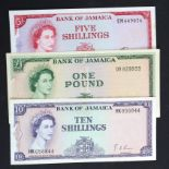 Jamaica (3), 1 Pound signed R.T.P. Hall, 10 Shillings signed G.A. Brown and 5 Shillings signed S.