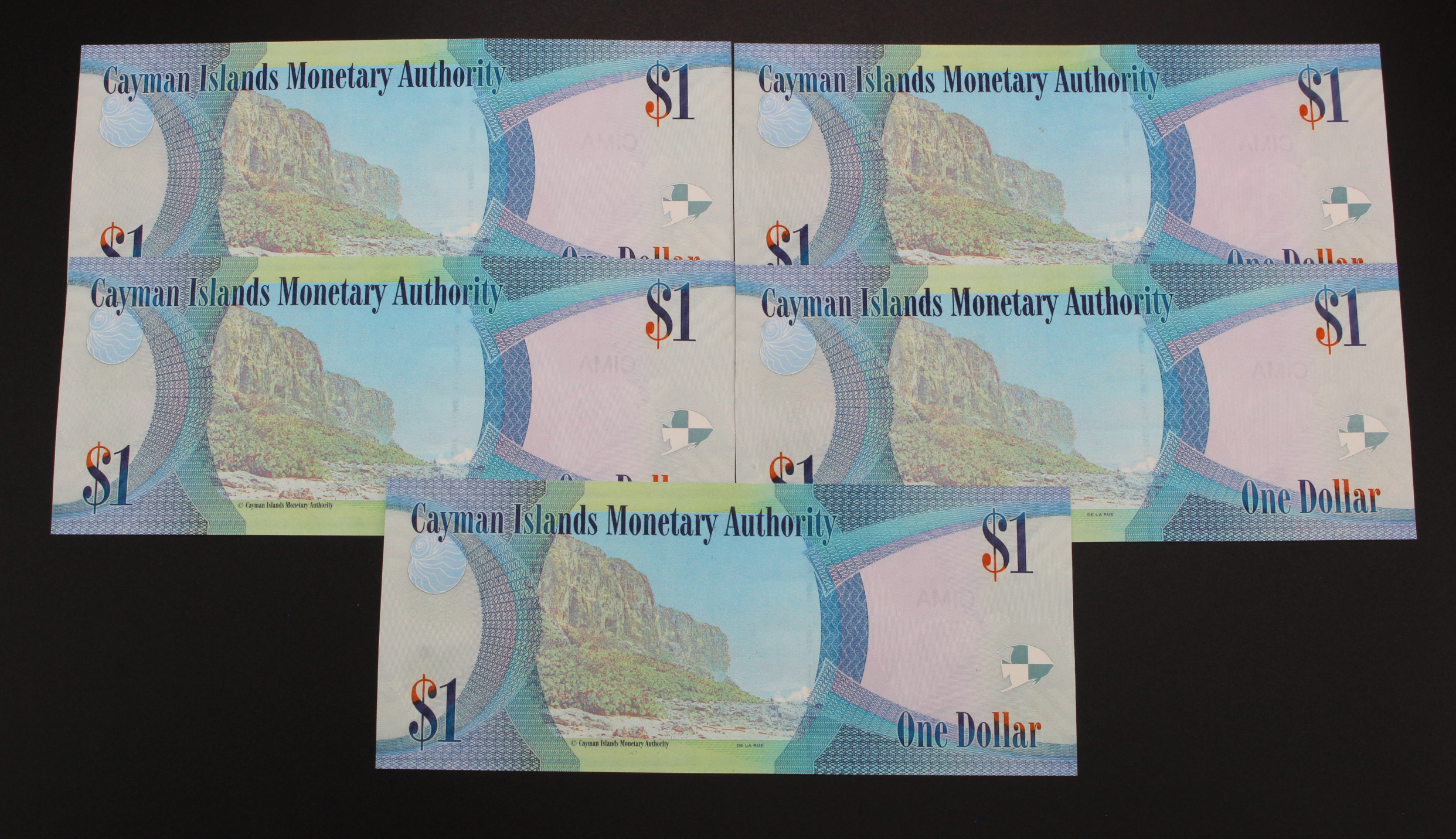 Cayman Islands 1 Dollar REPLACEMENT notes (5) dated 2010, a consecutively numbered run, serial Z/1 - Image 2 of 2