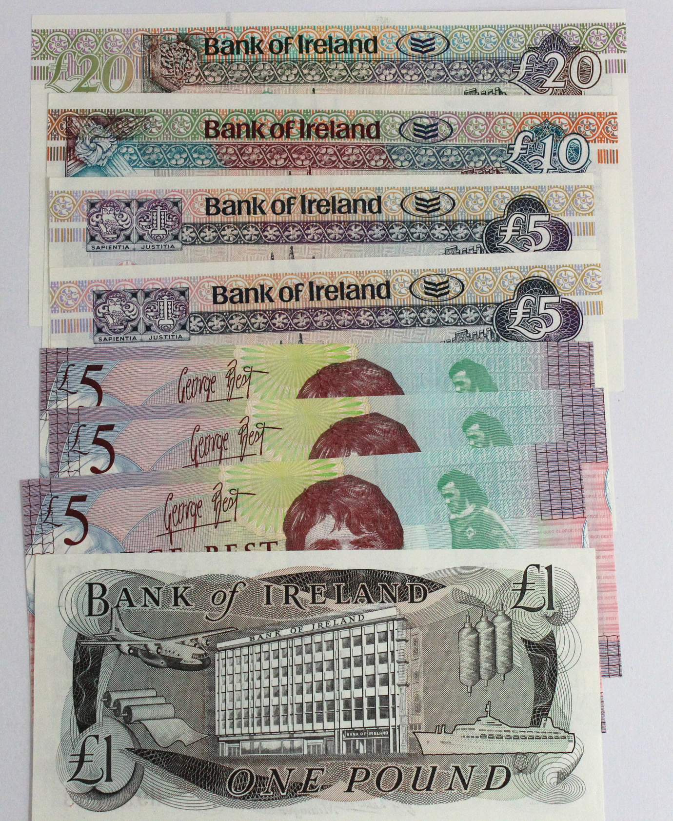 Northern Ireland (8), an Uncirculated lot, Bank of Ireland (5) 20 Pounds dated 2007, 10 Pounds dated - Image 2 of 2
