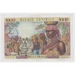 Equatorial African States 1000 Francs issued 1963, code letter C, serial M.5 05115 (TBB B203c,