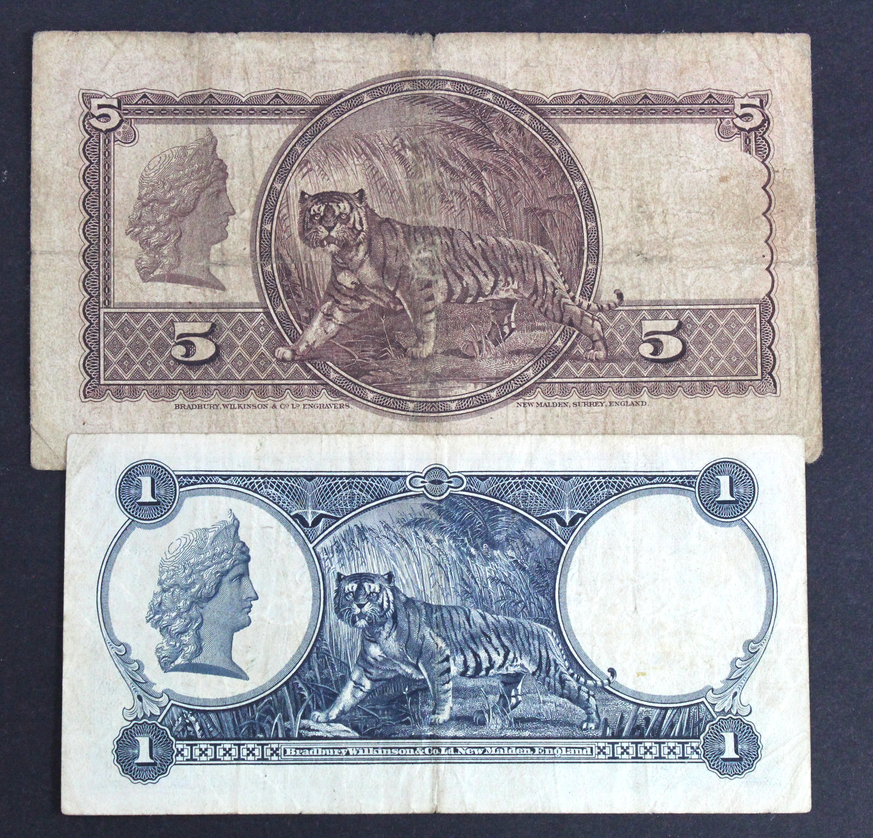 Straits Settlements (2), 5 Dollars and 1 Dollar dated 1st January 1935, portrait King George V at - Image 2 of 2