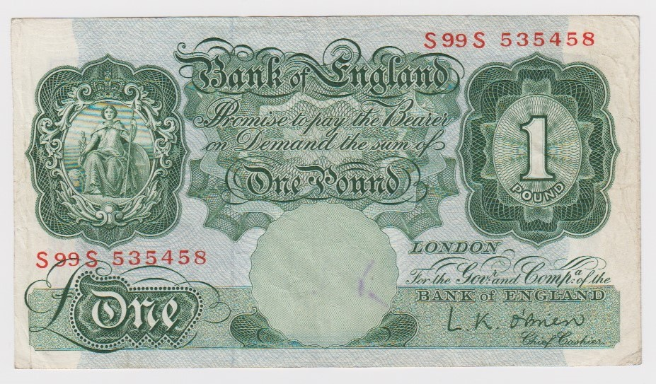 O'Brien 1 Pound issued 1950, scarce LAST RUN REPLACEMENT note 'S99S' prefix, serial S99S 535458 (
