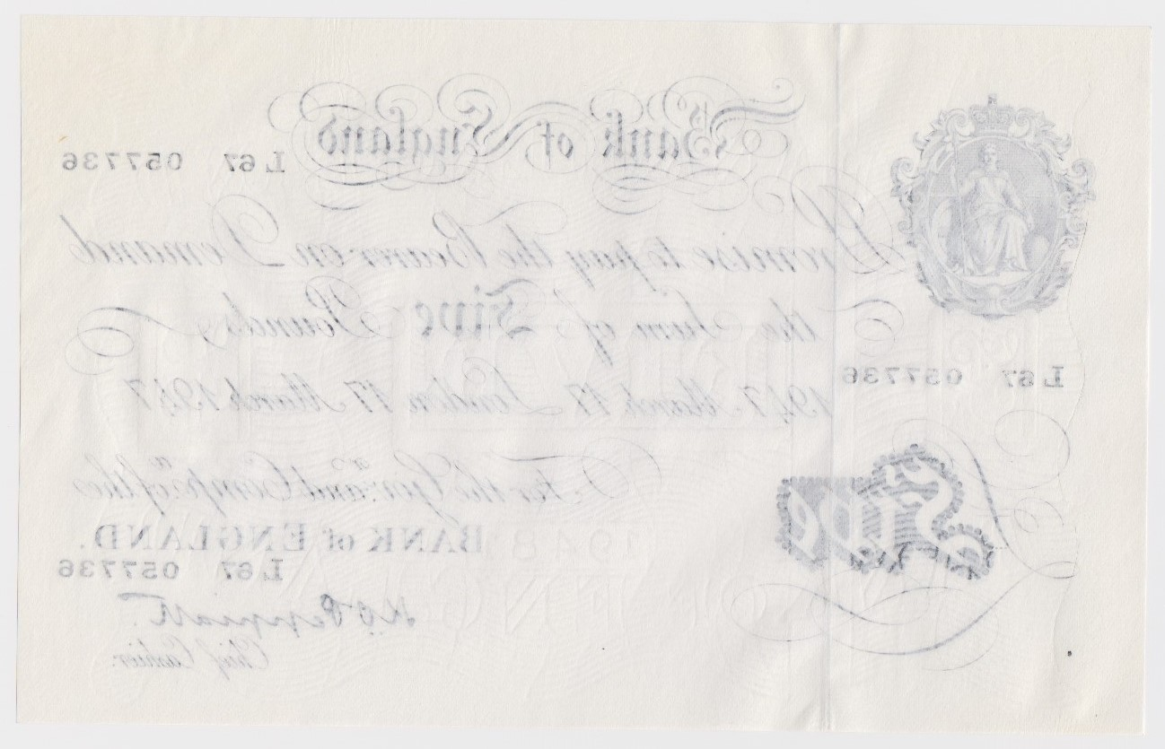 Peppiatt 5 Pounds dated 17th March 1947, serial L67 057736, London issue on thin paper, a - Image 2 of 2
