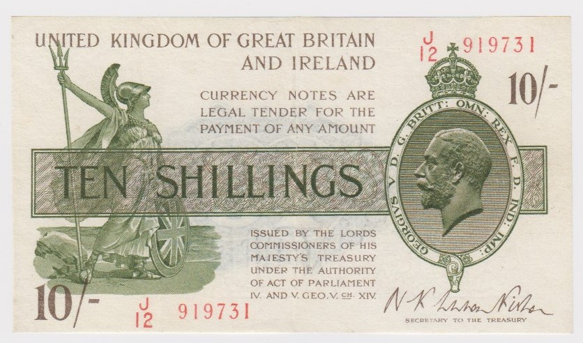 Warren Fisher 10 Shillings issued 1922, FIRST SERIES serial J/12 919731 (T30, Pick358) cleaned &
