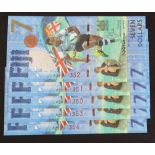 Fiji 7 Dollars (5) issued 2017, Commemorative Fiji Rugby 7's Gold Medal, a consecutively numbered