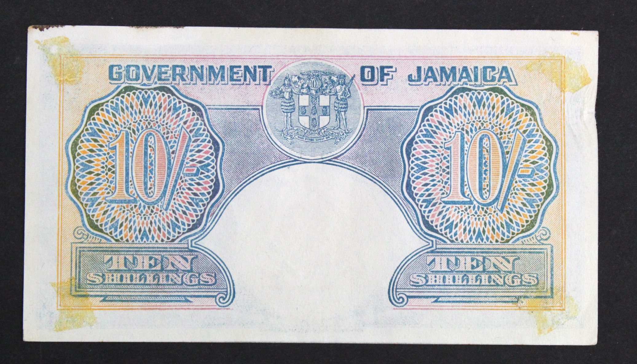 Jamaica 10 Shillings dated 1st November 1940, portrait King George VI at left, in 1941 the SS - Image 2 of 2