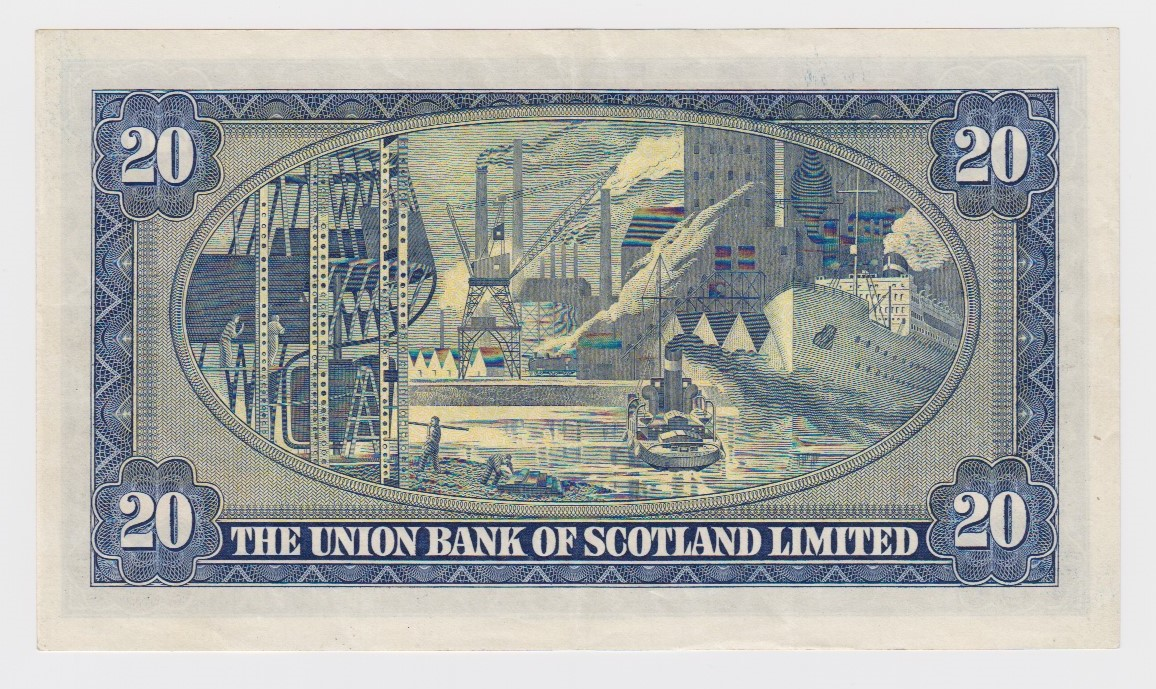 Scotland, Union Bank 20 Pounds dated 1st May 1953, LAST DATE of issue, signed John A. Morrison, - Image 2 of 2