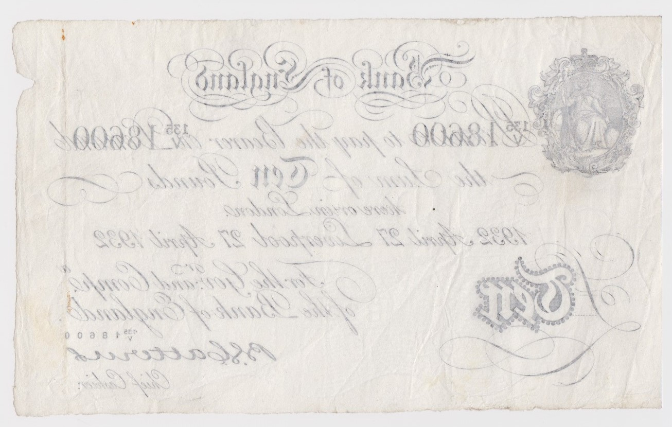 Catterns 10 Pounds dated 27th April 1932, very rare LIVERPOOL branch note, serial 135/V 18600 ( - Image 2 of 2