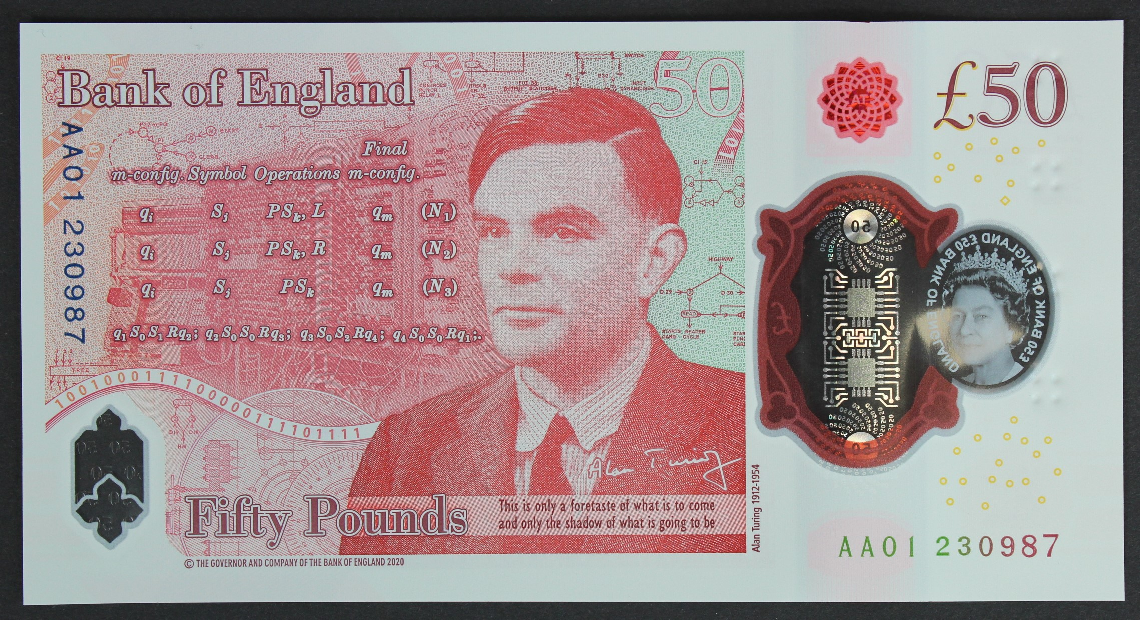 Sarah John 50 Pounds, new polymer issue with portrait of Alan Turing on reverse, a FIRST RUN '