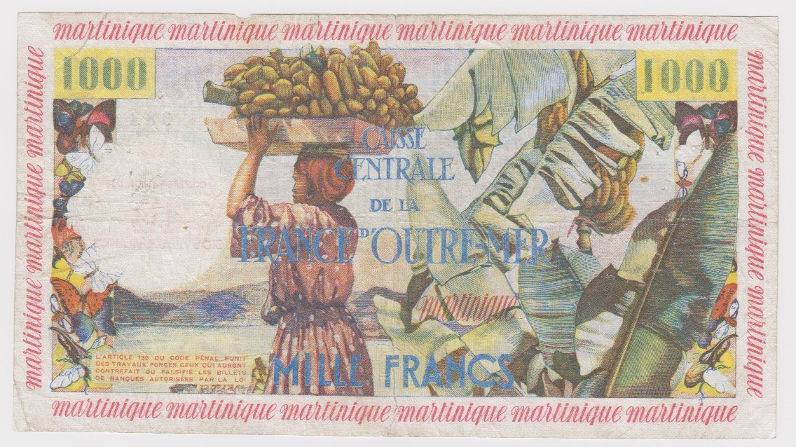 Martinique 10 Nouveaux Francs on 1000 Francs issued 1960, serial F.3 383 (TBB B417a, Pick39) small - Image 2 of 2