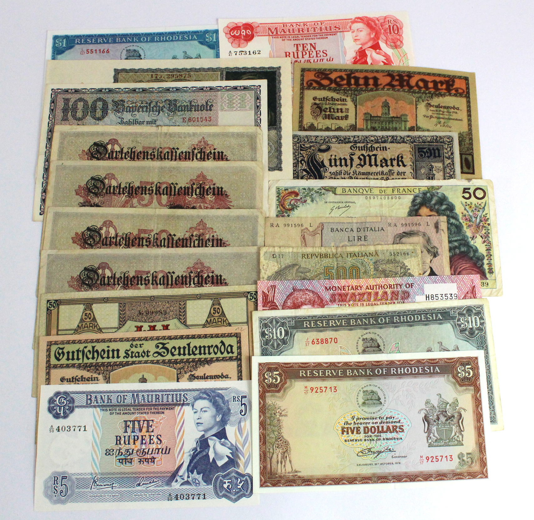 World (19), small group comprising Mauritius (2), Rhodesia (3), Swaxiland (1), Italy (2), France (