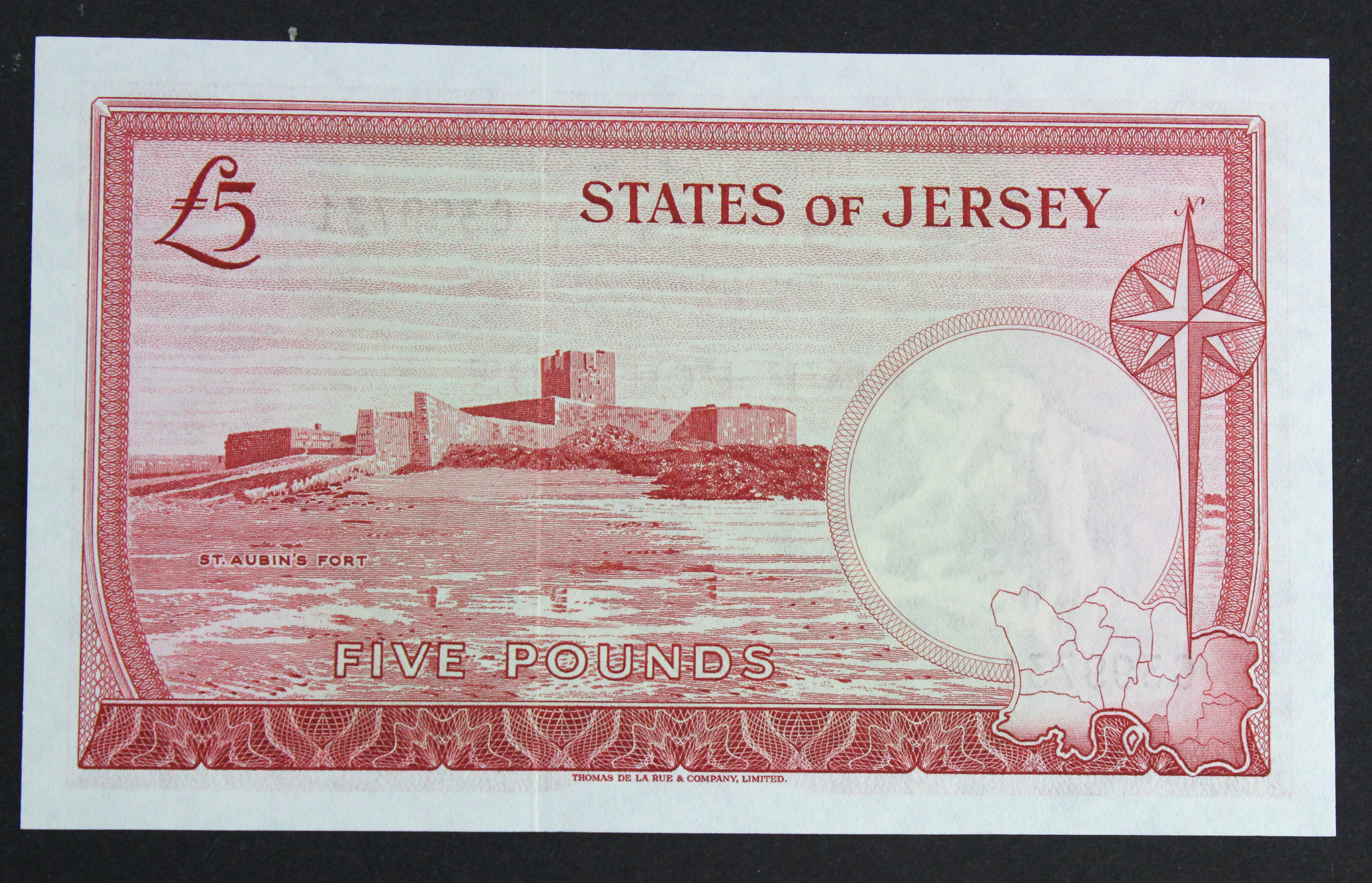 Jersey 5 Pounds issued 1963 signed J. Clennett, serial C399731 (TBB B109b, Pick9b) Uncirculated - Image 2 of 2