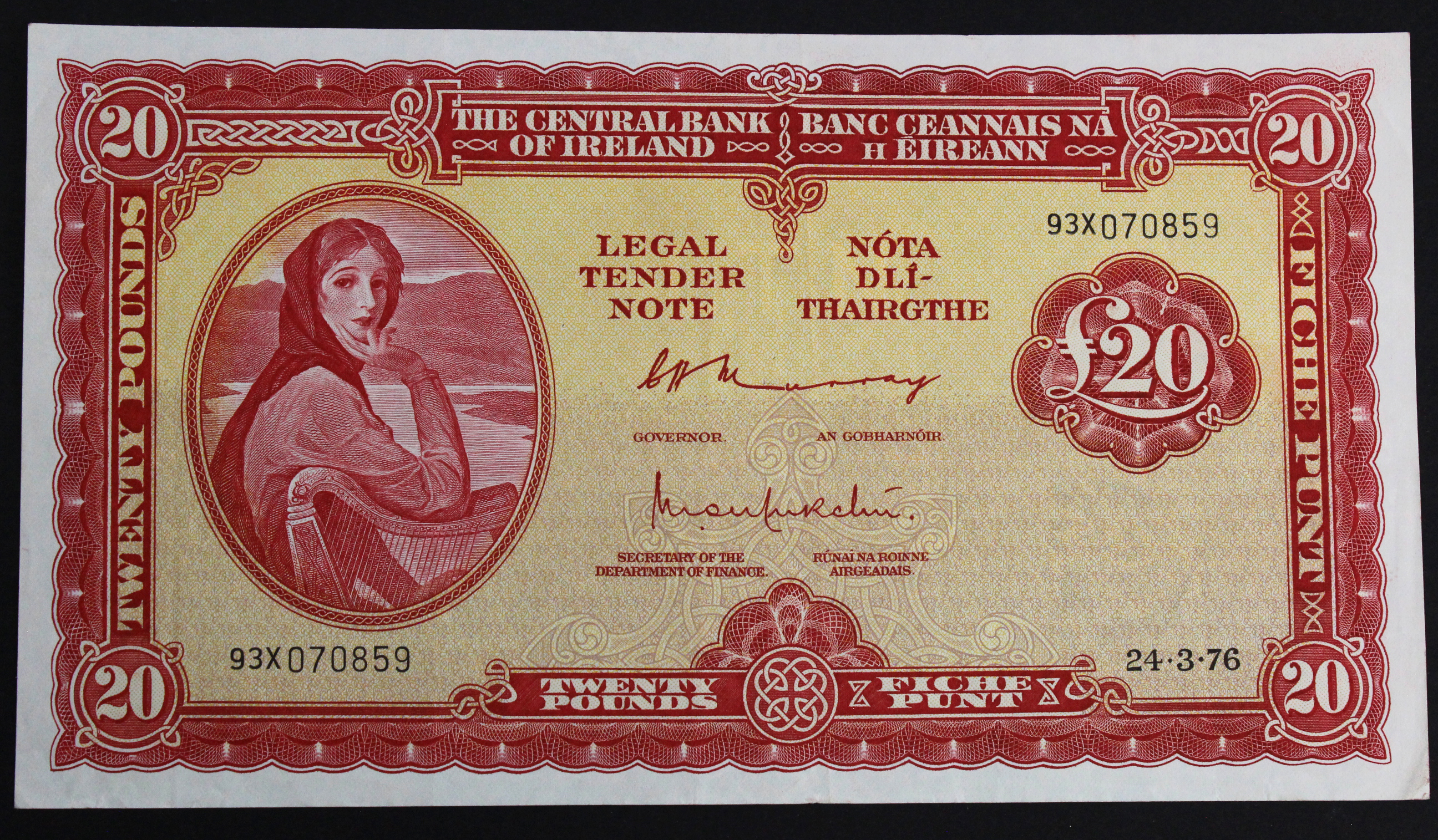 Ireland Republic 20 Pounds dated 24th March 1976, last date of issue, Lady Lavery portrait at