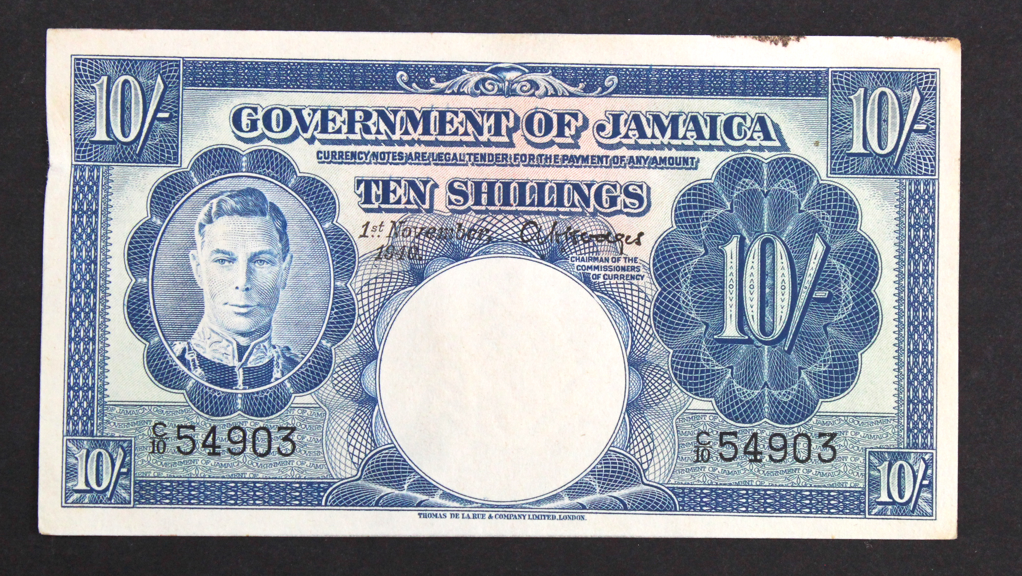 Jamaica 10 Shillings dated 1st November 1940, portrait King George VI at left, in 1941 the SS