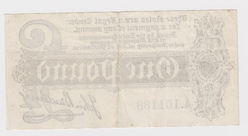 Bradbury 1 Pound issued 1914, serial A.101188, scarce with letters POST from the word 'postage' seen - Image 2 of 2