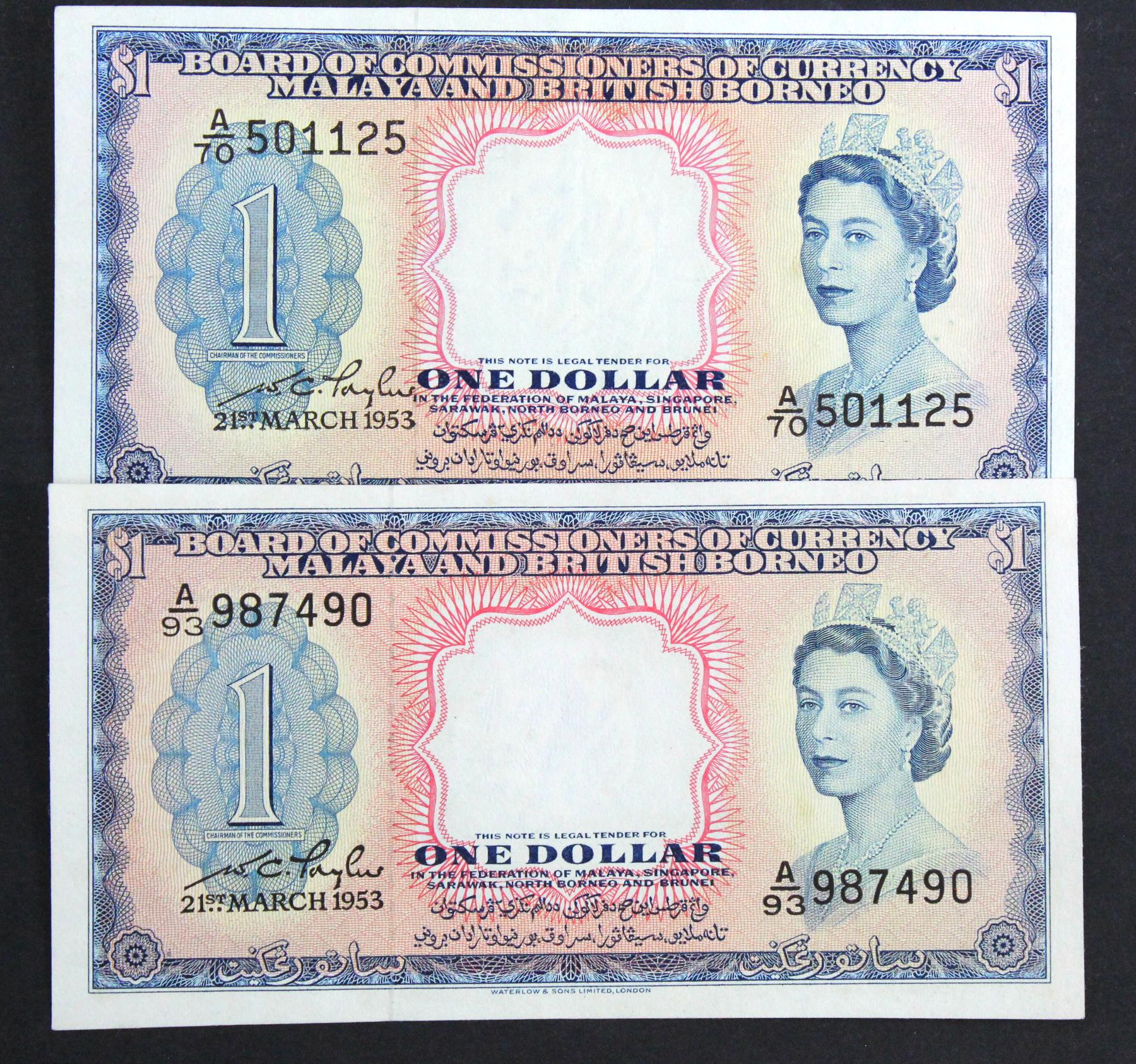Malaya & British Borneo 1 Dollar (2) dated 21st March 1953, serial A/70 501125 & A/93 987490 (TBB