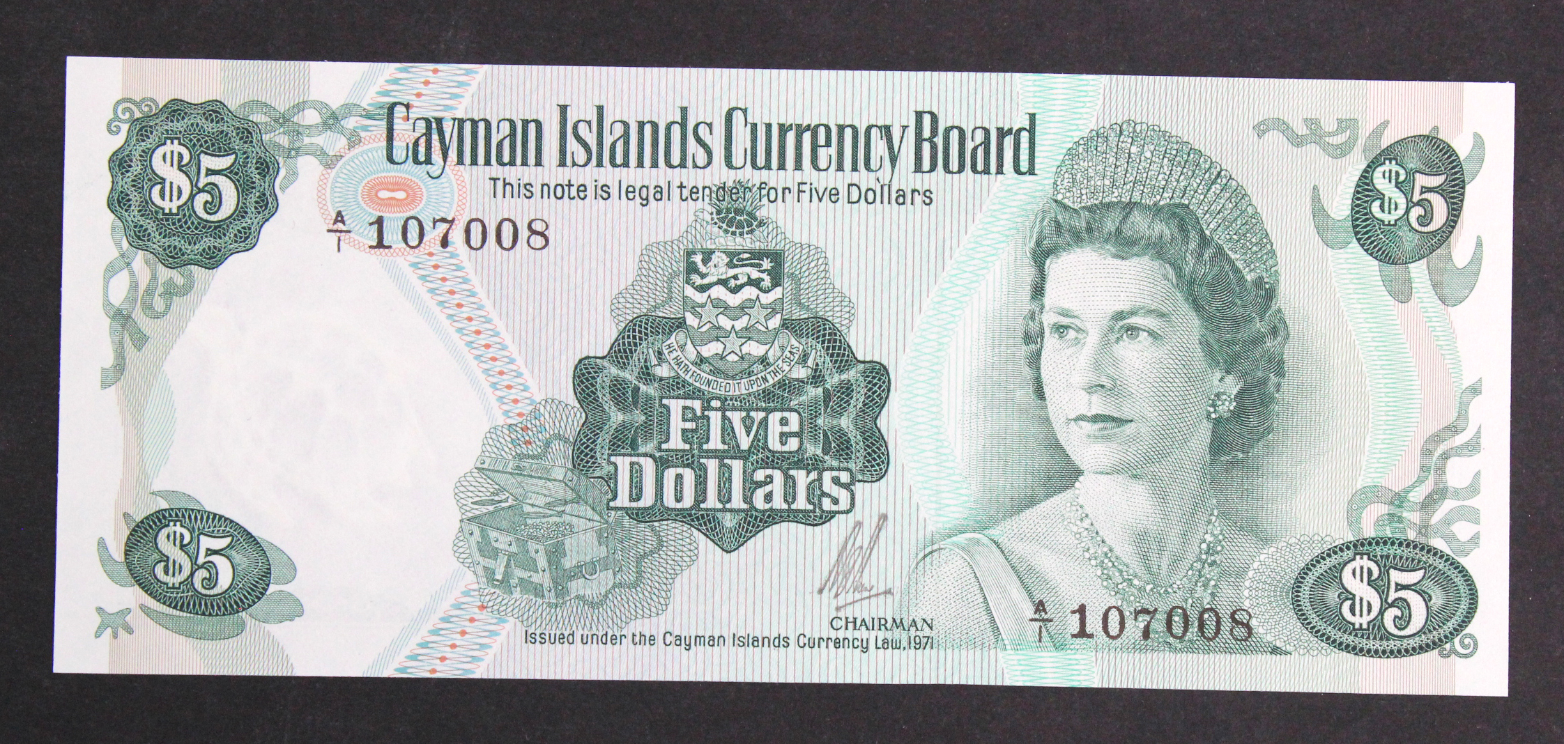 Cayman Islands 5 Dollars dated 1971 (issued 1972), portrait Queen Elizabeth II at right, serial A/