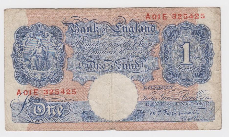 Peppiatt 1 Pound issued 1940, blue WW2 emergency issue, a rare FIRST RUN of sub series 'A01E'