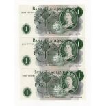 Hollom 1 Pound (3) issued 1963, a consecutive numbered run of last series notes prefix 'B09Y'