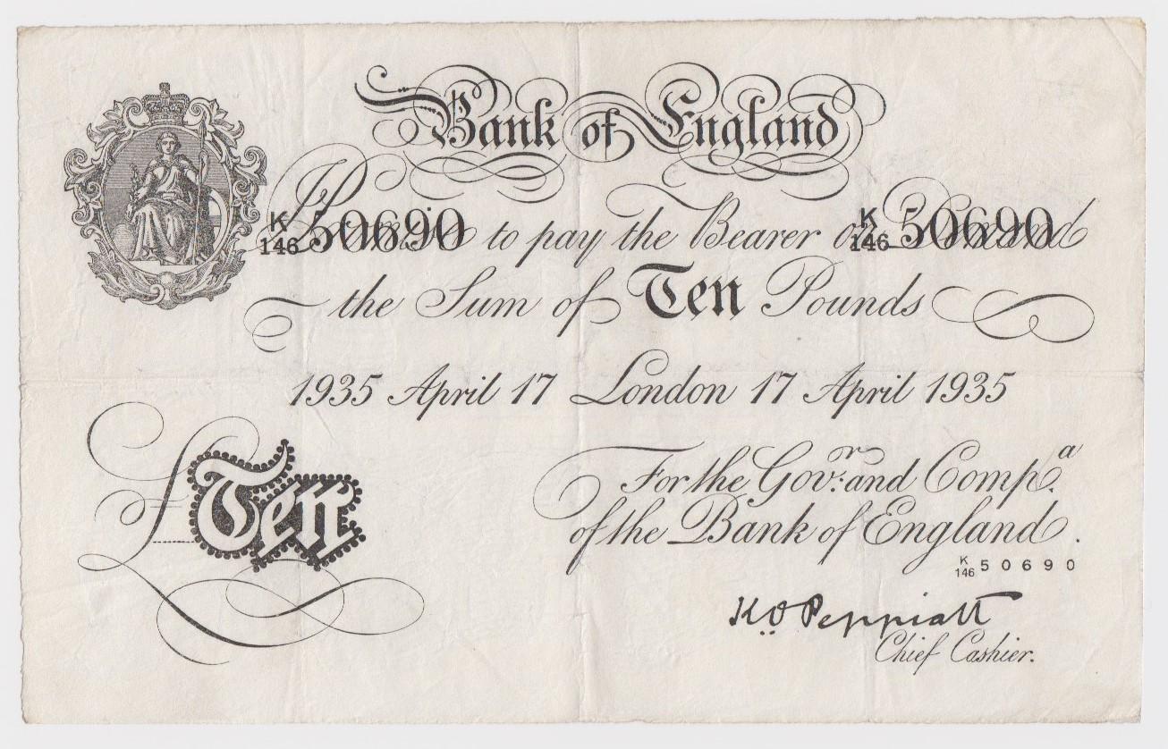 Peppiatt BERNHARD note, 10 Pounds dated 17th April 1935, serial K/146 50690, London issue (B242
