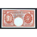 Jamaica 5 Shillings dated 1st November 1940, portrait King George VI at left, serial C/36 81045 (TBB