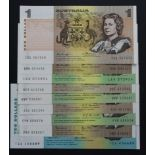 Australia (9), a good group all different dates/signatures in high grades, 10 Dollars and 1 Dollar