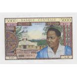 Cameroun 5000 Francs issued 1962, serial A.30 0725917 (TBB B307a, Pick13a) cleaned & pressed VF+