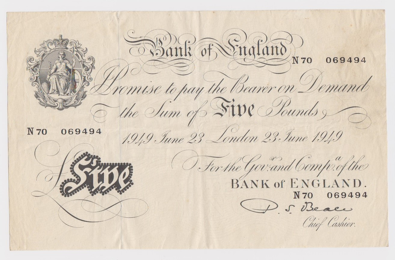 Beale 5 Pounds dated 23rd June 1949, serial N70 069494 (B270, Pick344) VF
