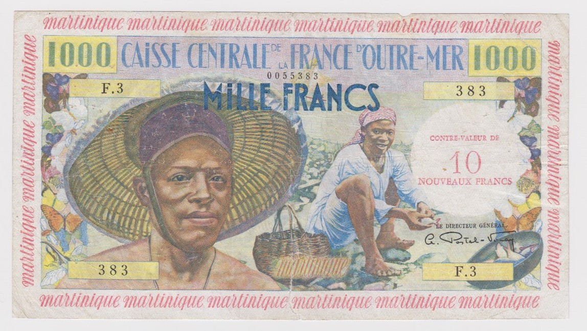 Martinique 10 Nouveaux Francs on 1000 Francs issued 1960, serial F.3 383 (TBB B417a, Pick39) small