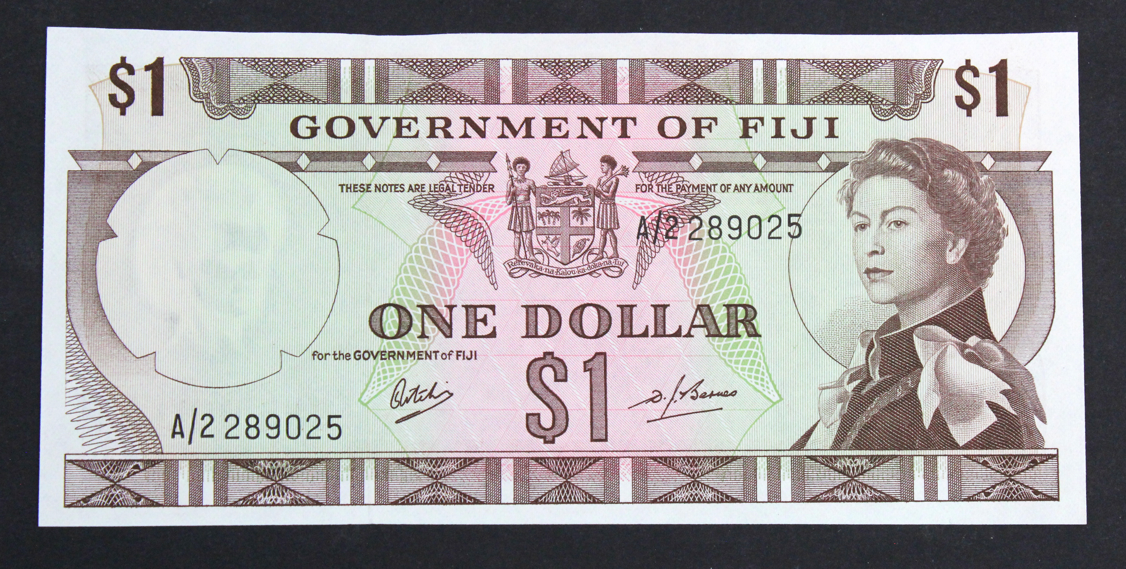 Fiji 1 Dollar issued 1969, signed Ritchie & Barnes, serial A/2 289025 (TBB B336a, Pick59a)