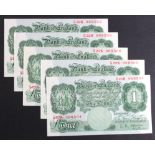 O'Brien 1 Pound (5) issued 1955, series A Britannia 1 Pound notes, a consecutively numbered run,