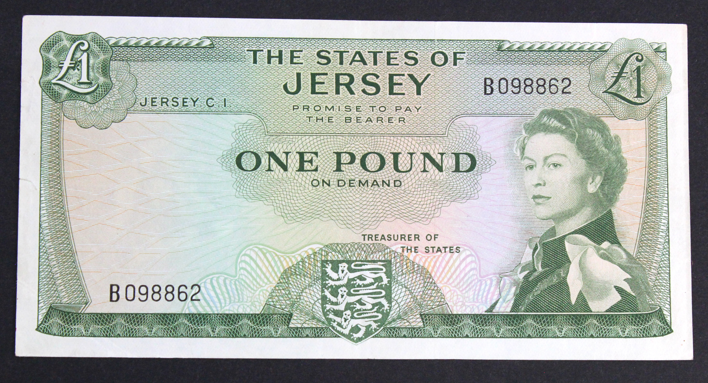 Jersey 1 Pound issued 1963, scarce ERROR - no signature, serial B098862 (TBB B108b, Pick8c) 2