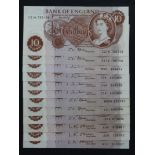 O' Brien, Hollom & Fforde 10 Shillings (12), a collection of series C Portrait notes, O'Brien (3),