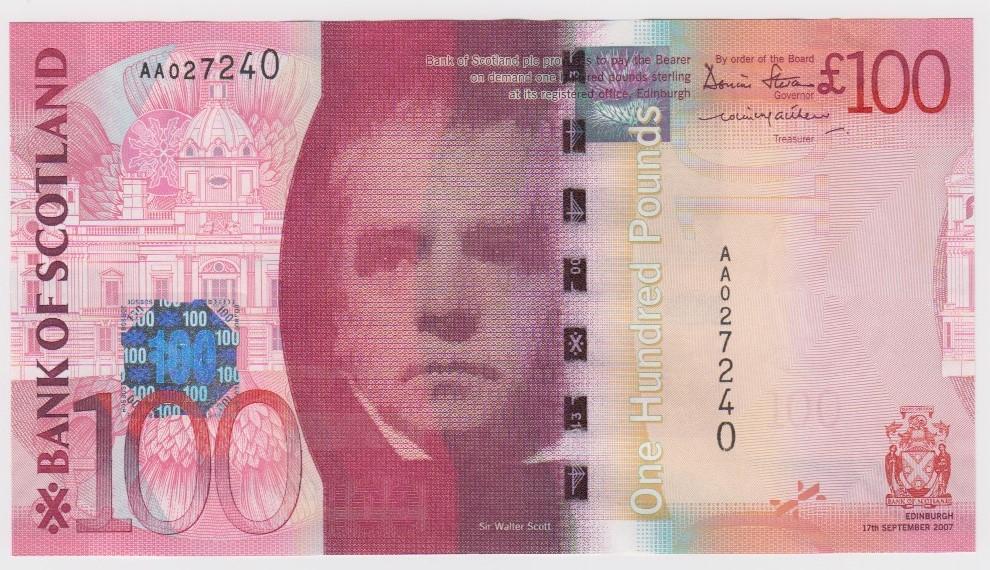 Scotland, Bank of Scotland 100 Pounds dated 19th January 2009, Kessock Bridge, a consecutively