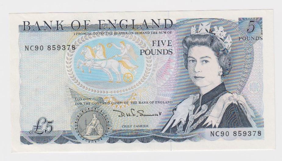 Somerset 5 Pounds issued 1980, LAST RUN 'NC90' prefix, serial NC90 859378 (B343, Pick378c) EF