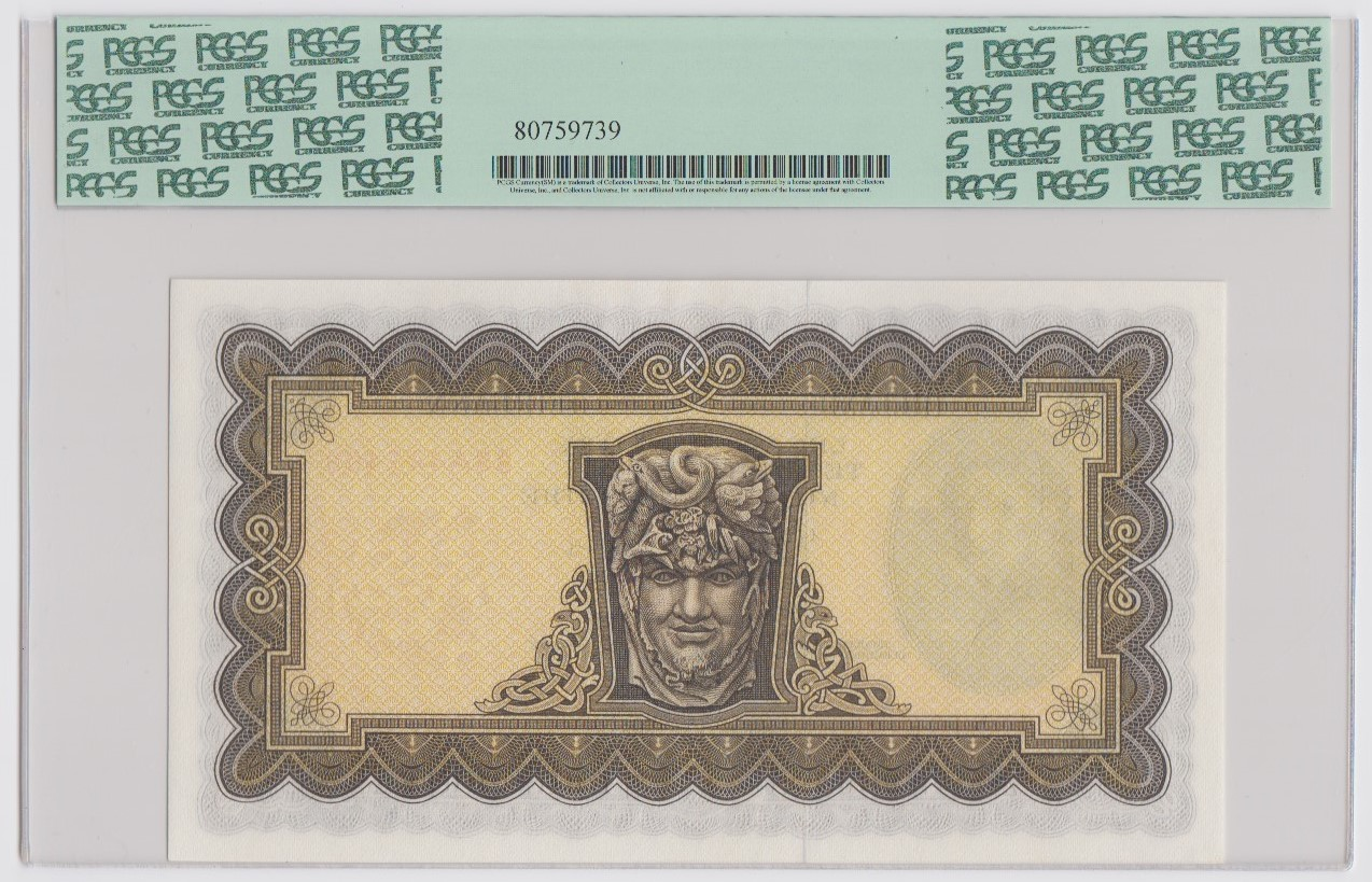 Ireland Republic 5 Pounds dated 5th September 1975, Lady Lavery portrait at left, signed - Image 2 of 2