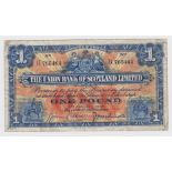 Scotland, Union Bank 1 Pound dated 4th January 1926, rare very early date for this design, signed N.