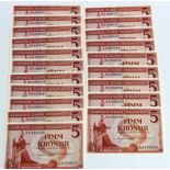 Iceland 5 Kronur (20) dated 1957, a consecutively numbered run of 20 notes, serial A8 399833 - A8
