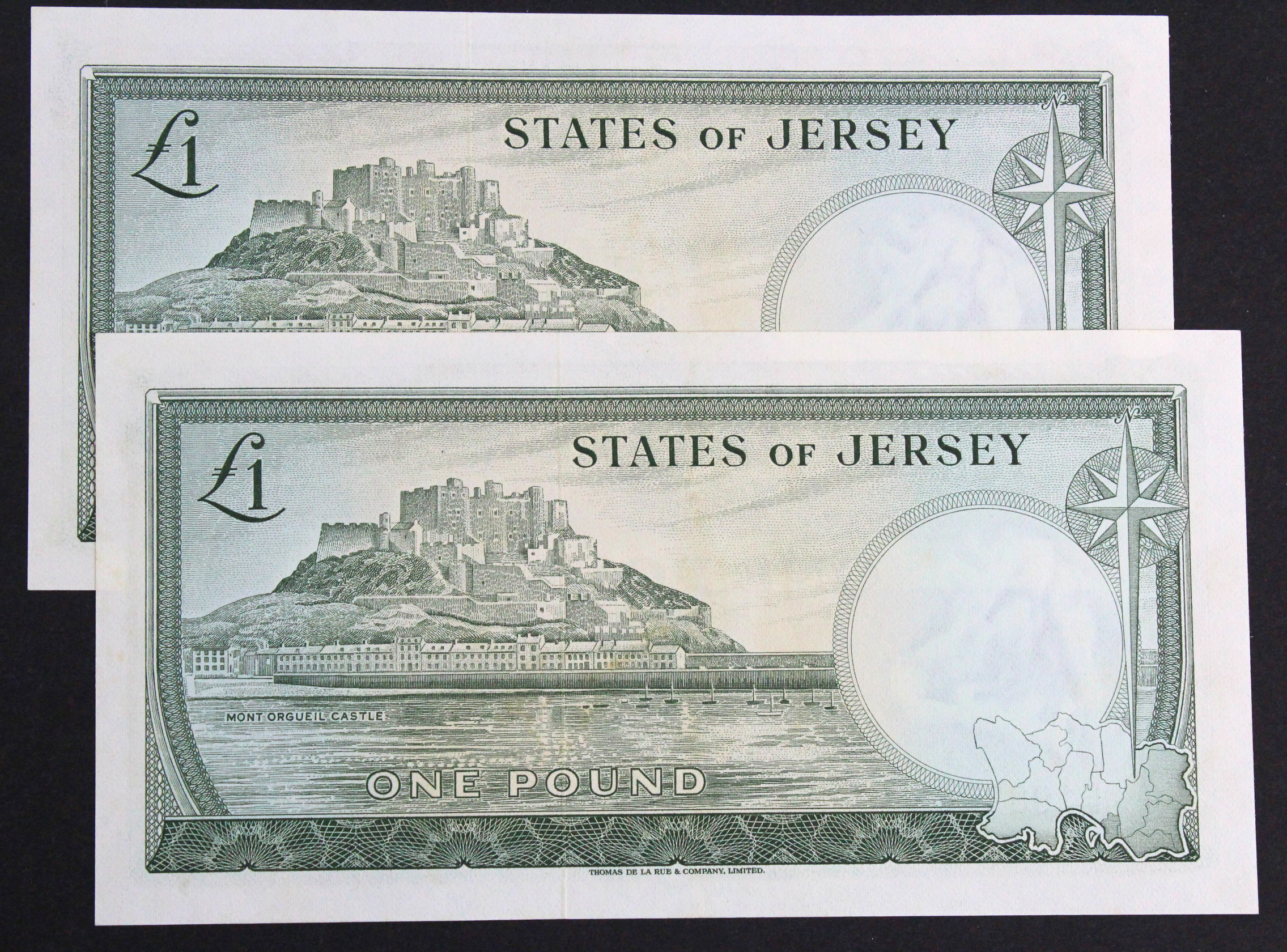Jersey 1 Pound (2) issued 1963, signed F.N. Padgham, a consecutively numbered pair, serial E198975 & - Image 2 of 2