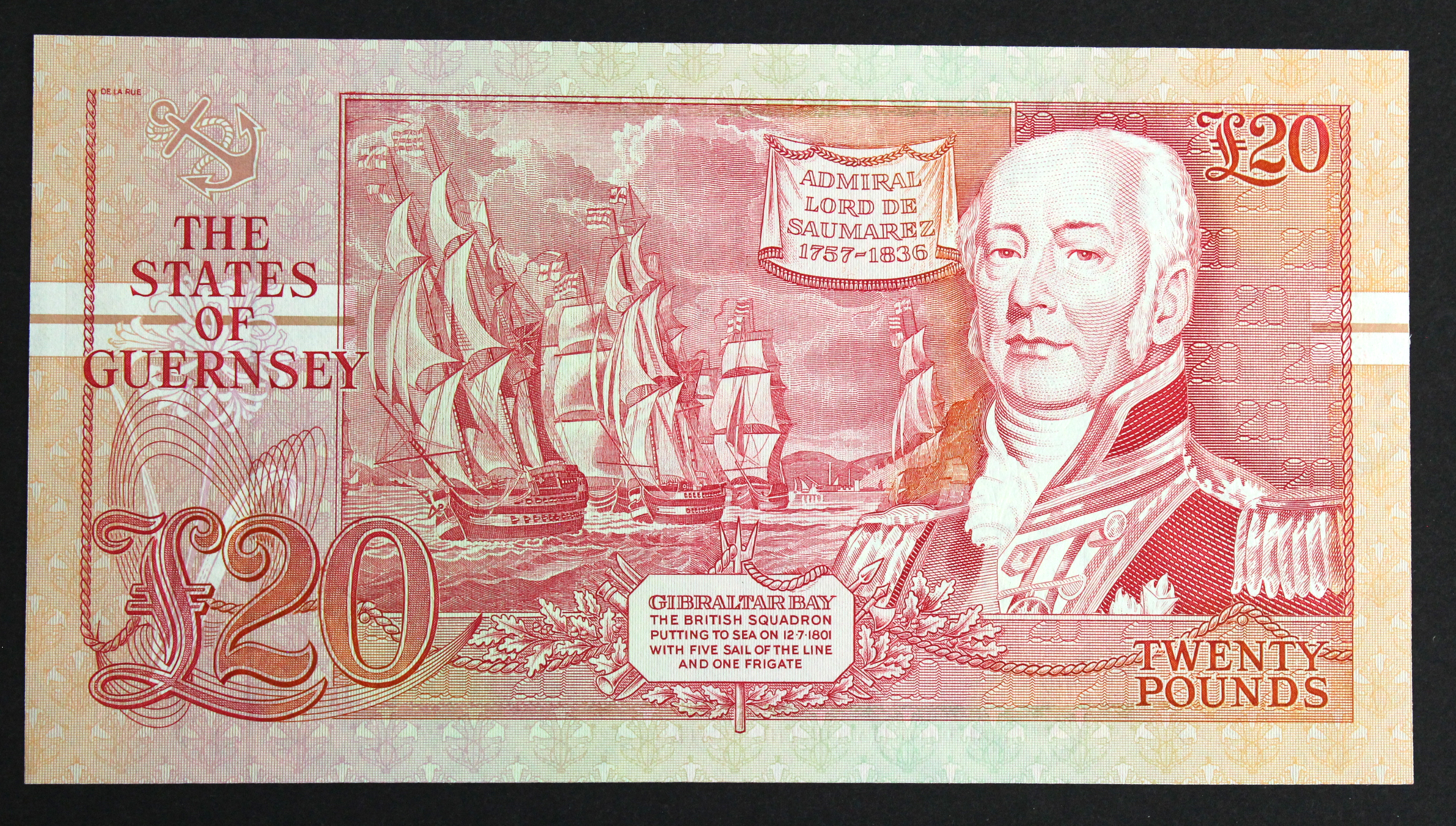 Guernsey 20 Pounds issued 1991 - 1995, signed D.P. Trestain, VERY HIGH serial B999957 (TBB B160b, - Image 2 of 2