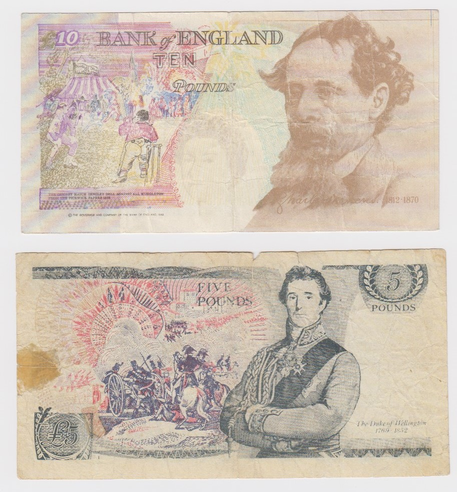 FORGERY (2), Kentfield 10 Pounds serial number L11 475836 (B366 for type), Somerset 5 Pounds - Image 2 of 2