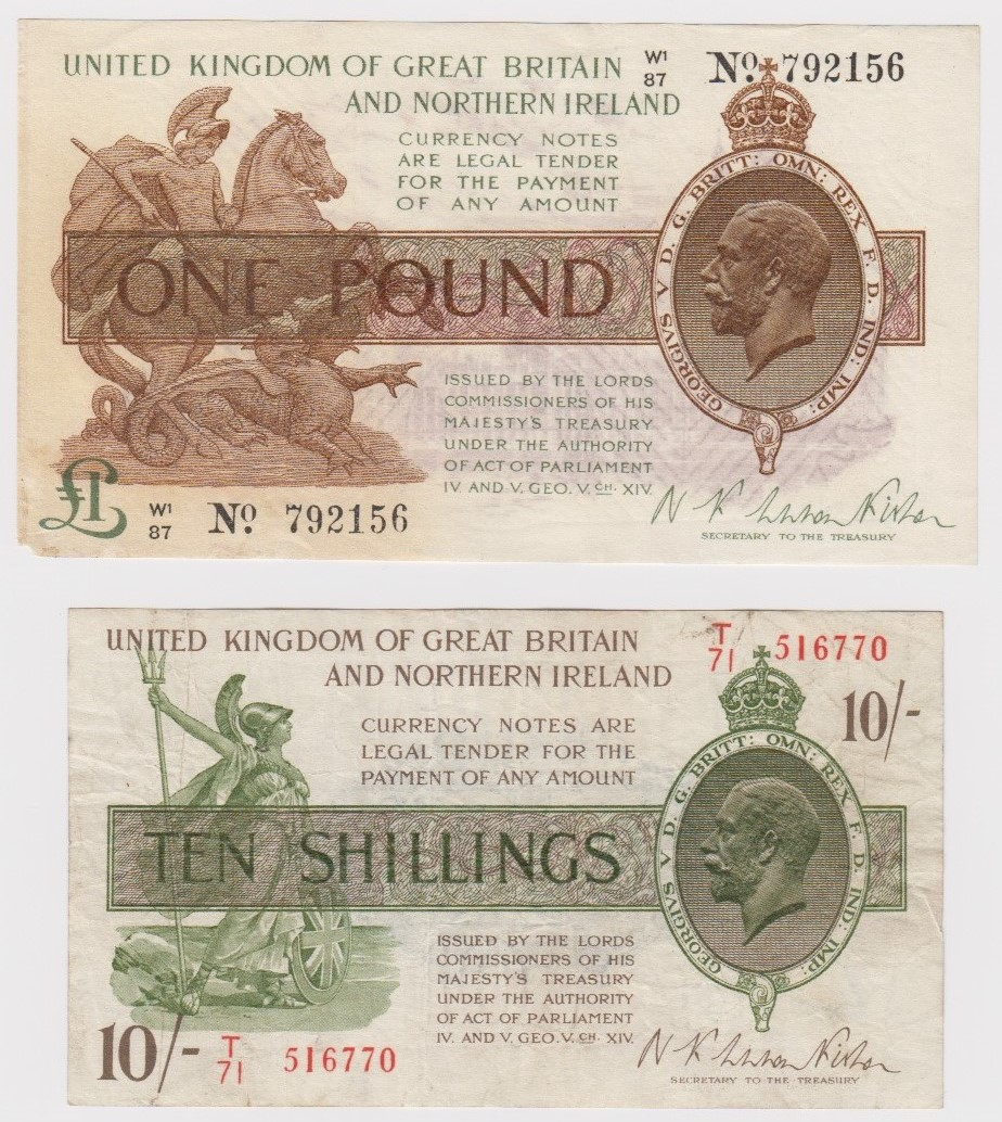 Warren Fisher (2) issued 25th July 1927, rarer Great Britain and Northern Ireland issue, 1 Pound