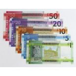 Jersey (5), a group with MATCHING LOW serial numbers, 50 Pounds, 20 Pounds, 10 Pounds, 5 Pounds &