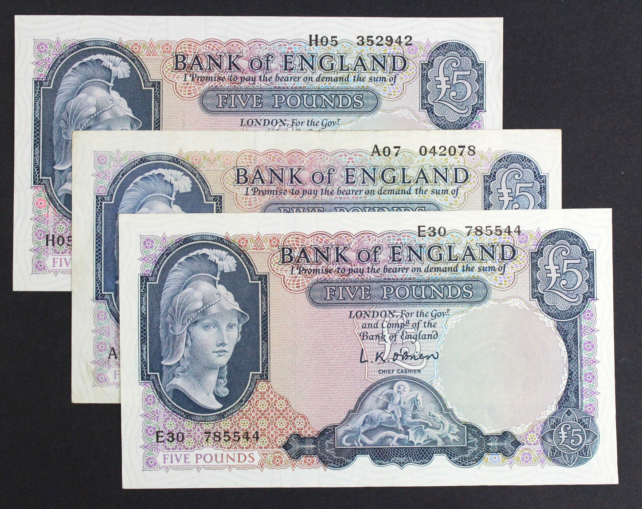 O'Brien 5 Pounds (3), a group of FIRST and LAST series notes, Lion & Key issue, FIRST SERIES