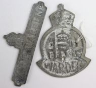 WW2 British Home Front A.R.P Wardens Gate and Door Badge denoting that it is the location of a