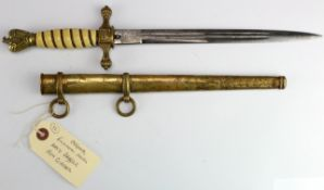 German Nazi stag grip Parade bayonet, with metal scabbard, blade maker marked 'E & F Horster