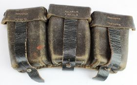 German Nazi Ammo pouches x2, one dated 1938 + bayonet frog.