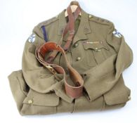 Royal Signals Officers uniform jacket, trousers, hat and Sam Brown with Kings crown Royal Signals
