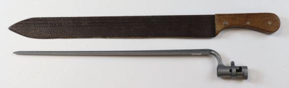 Bayonet socket type & Machete, machete rusty. (Sold as seen)