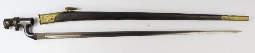 Bayonet 1878 pattern Martini Henry socket bayonet with WD arrow Enfield inspectors stamps and the